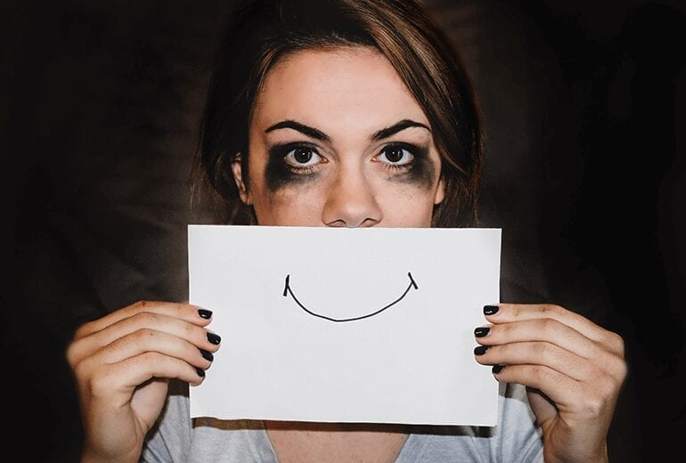 Woman with addicition problem trying to be happy